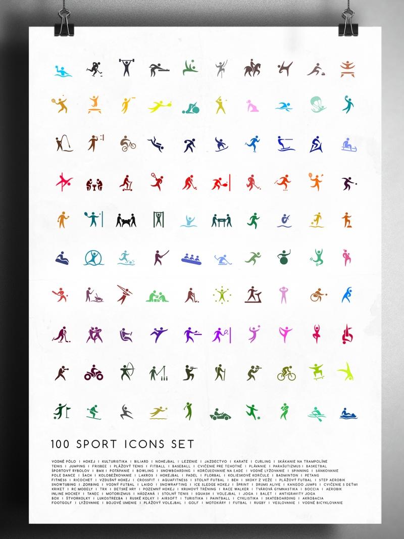 100 Sports icons set
